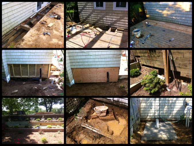 Cinder Block Foundation, Outdoor Deck, Shingling, Retaining Wall, Terracing & Outdoor Shower – Shelter Island, NY