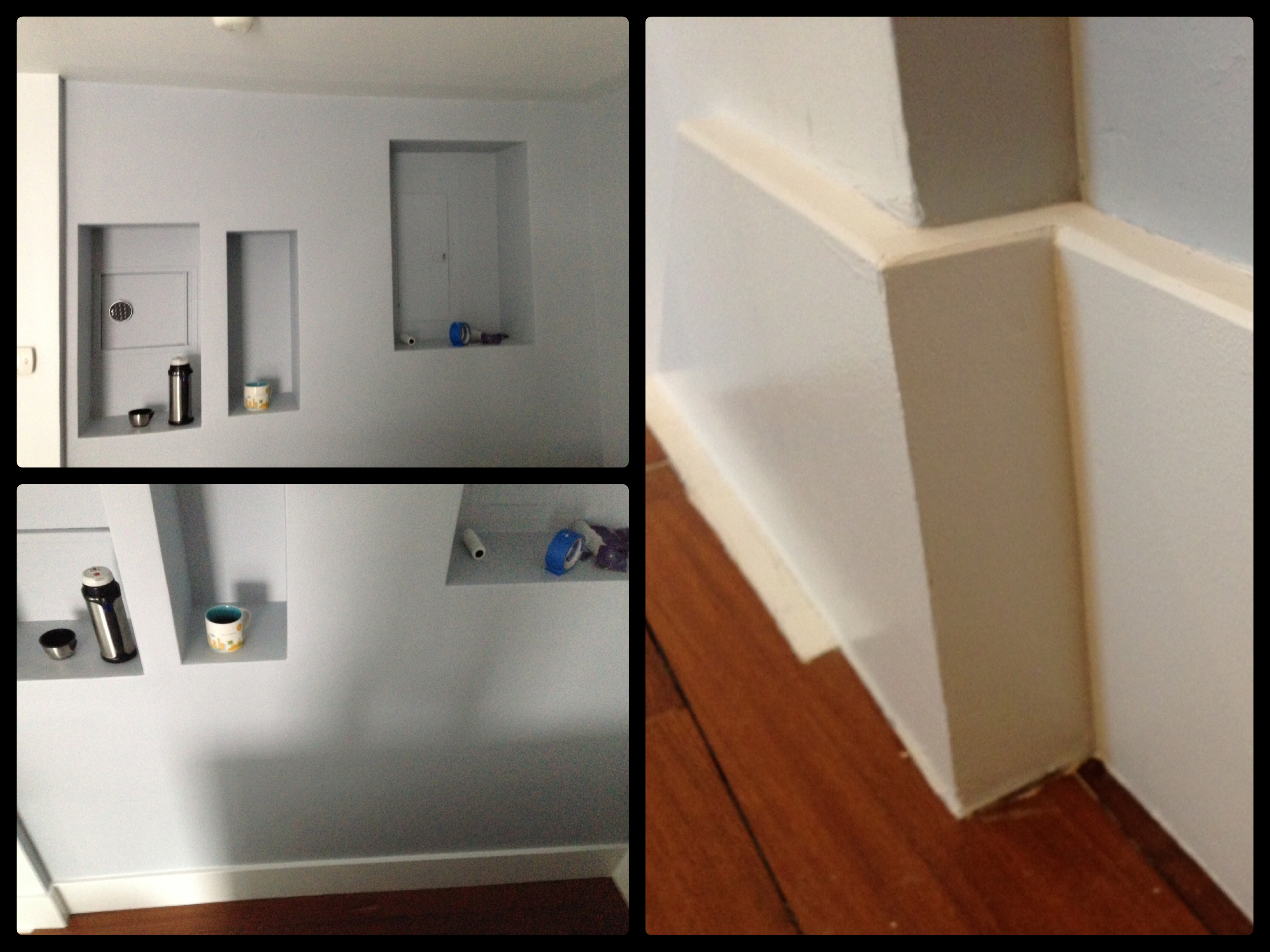 Wall Buildout to create Built-in Shadowboxes & Baseboards – Williamsburg