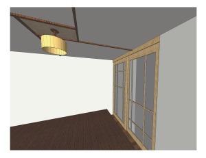 "Custom Pine Shoji Sliding Doors with 1/8"" Opaque Acrylic Sheet + Cable-concealing Ceiling Molding with Burlap Centerpiece // [KI•NET•IC] NYC"